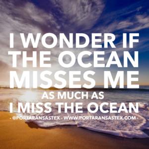 I wonder if the ocean misses me as much as I miss the ocean.   www.portaransastex.com