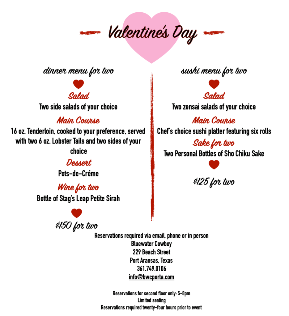 Valentine's Day menu at Bluewater Cowboy Saloon | PortAransasTex.com