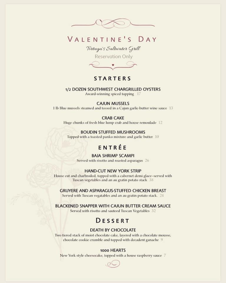 Valentine's Menu at Tortuga's Saltwater Grill   PortAransasTex.com