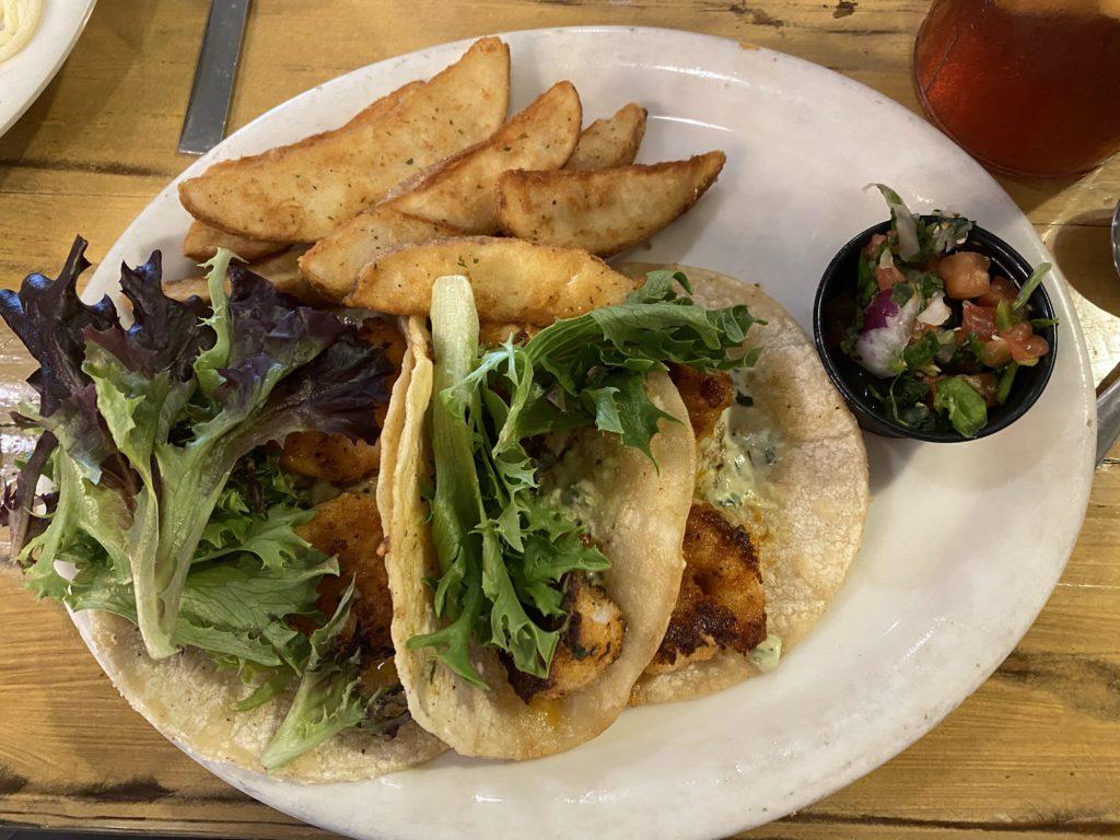 Shrimp Tacos at Seafood & Spaghetti Works | Port Aransas Explorer
